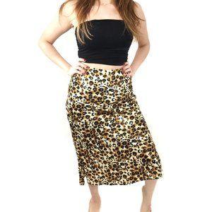 Leopard Cheetah Print Stretch Midi Stretch Skirt